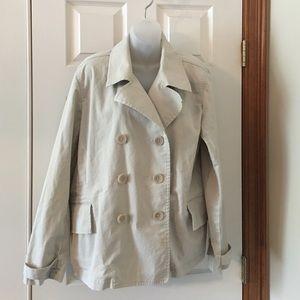 Talbots light weight khaki short trench coat.