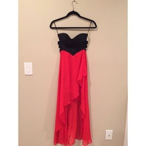 Red / Black Low-High Strapless Dress
