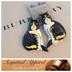 Acquitted Apparel Jewelry - Unique Hand Painted Cat Earrings