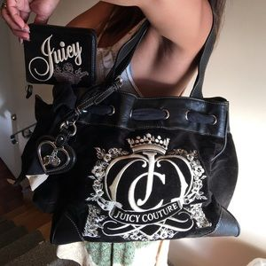 Juicy Couture velvet bag and wallet
