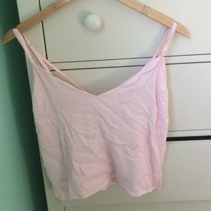 Kendall and Kylie Pink Sheer Cropped Tank Top