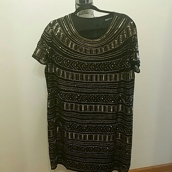59a8dbe6c2 Boohoo Plus Dresses & Skirts - Black with gold sequin embellished cocktail  dress