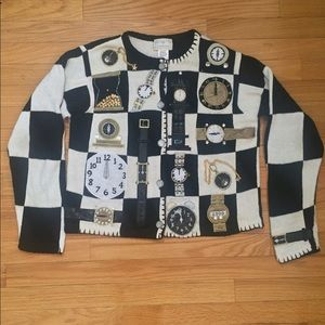 Sweaters - vintage clock sweater
