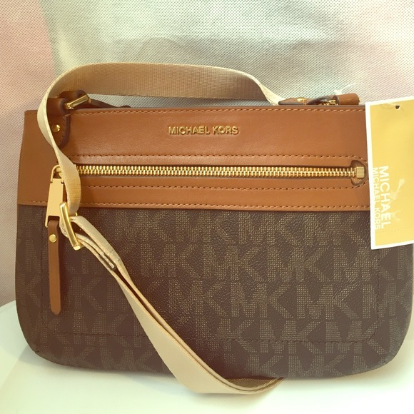 839848d681a57 Michael Kors Jet Set Sport brown sig MK crossbody