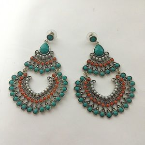 Jewelry - Turquoise and orange fashion earrings