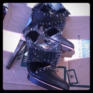 BCBG spiked ankle strap booties with chrome heel
