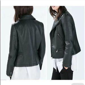 Gorgeous Emerald Green Zara Leather Jacket