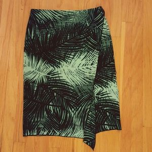 Palm Fronds Print Pencil Skirt