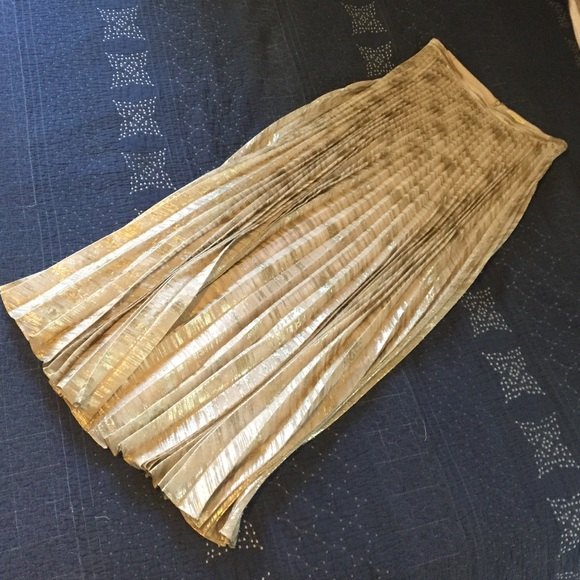 Anthropologie Skirts Moulinette Soeurs Pleated Gold Maxi Skirt