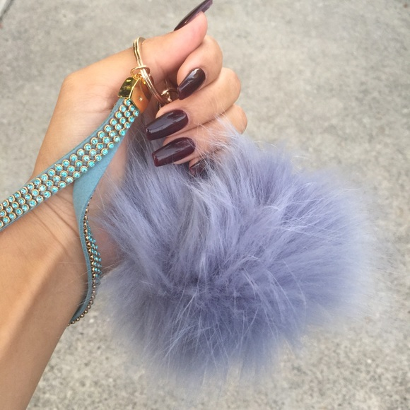 Tanya Kara Accessories - Periwinkle Fur Ball Key Chain
