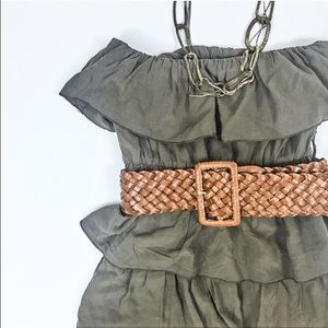 Foreign Exchange Dresses & Skirts - Army Green Strapless Ruffle Dress