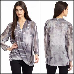 Vena Cava Tops - NWOT VenaCava Grey Dot Stripe Drape Front Silk Top