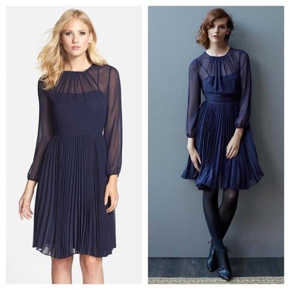 Eliza J Dresses Pleated Chiffon Fit Flare Dress 6 Navy