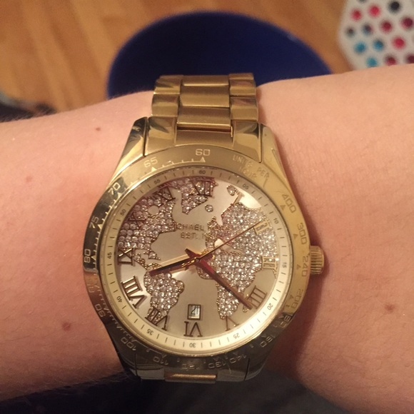 56 off michael kors jewelry gold michael kors world map watch gold michael kors world map watch gumiabroncs Images