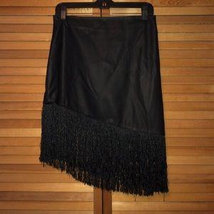 Express Dresses & Skirts - Express faux leather fringe skirt | Size: 8