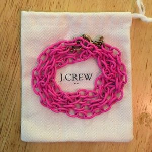 Pink Enamel J.Crew Chain Link Necklace