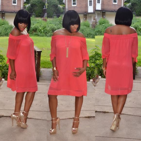 Elegant Off The Shoulder Coral Dress