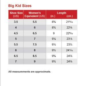 big kid shoe size to womens