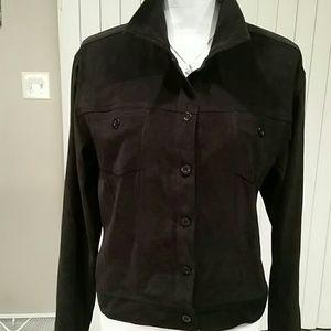 Marisol Faux Suede Button Up Jacket