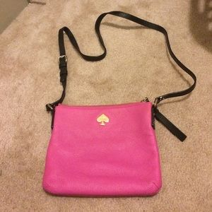 Authentic hot pink/black Kate Spade cross body