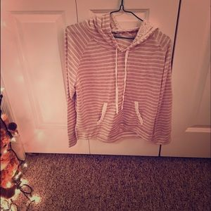 Striped shirt with lace hood
