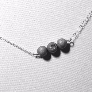 Gunmetal Druzy Bead and Sterling Silver Necklace
