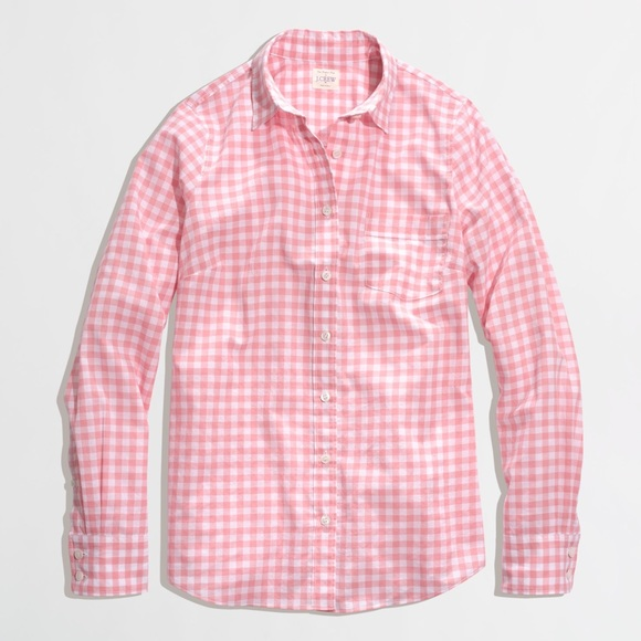 69 off j crew factory tops j crew pink gingham button for Pink gingham shirt ladies