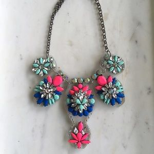 Lucite Pink Blue Colored Stone Statement Necklace