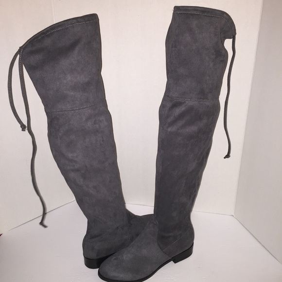 e17504acffd Steve Madden Grey Orlene Over The Knee Boots 8