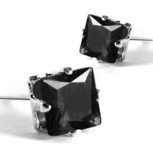925 sterling silver Jewelry - 925 sterling Silver Black crystal square earrings