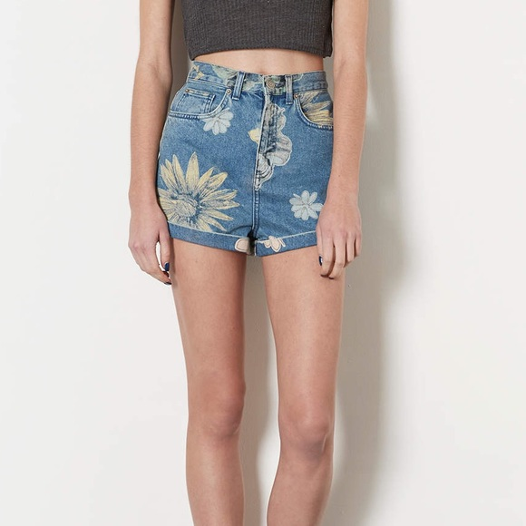 38% off Topshop Pants - Topshop Floral High Waisted Denim Shorts ...
