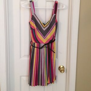 Dresses & Skirts - Striped, pleated, multicolor cut out back dress