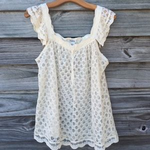 Pinky Tops - Pretty cream lace top
