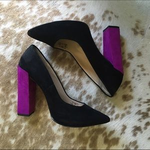 Zara Suede Block Heel Pump Pointy. Purple + Black