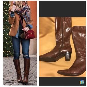 Brown genuine Leather tall boots