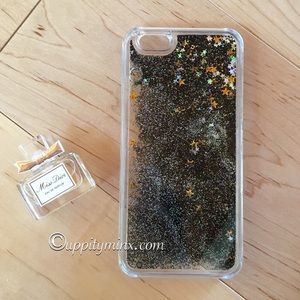 🆕 Black Liquid Glitter iPhone 6+ Case
