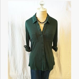 Timing Tops - Timing Hunter Green Button Down
