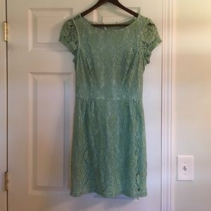 Seafoam green lace cocktail dress