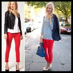 j. crew // garment dyed matchstick jeans • red