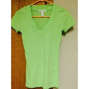 Ambiance Apparel Tops - Neon green vneck tee small