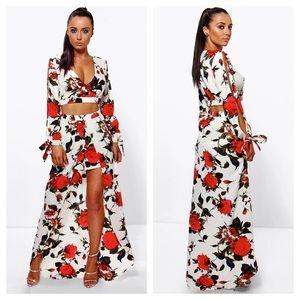 Boohoo Floral Crop Top & Maxi Skirt w/ Romper