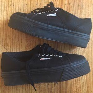 Superga Shoes - Superga Black Platform Sneaker