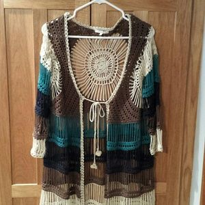 Willow & Clay crochet front tie cardigan