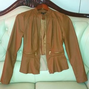 FAUX LEATHER PEPLUM JACKET - SIZE SMALL..NEW!