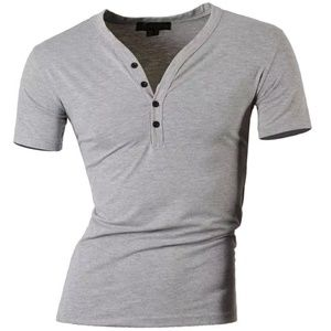 boutique Shirts - Grey short Sleeve Casual Polo Henley Shirt NEW XS