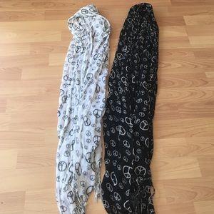 2 Peace Scarves LOT/ Bundle