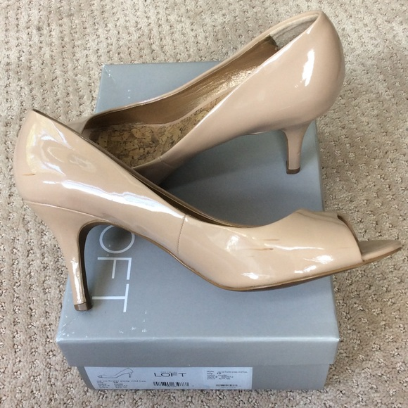 85% off LOFT Shoes - Loft Nude Peep Toe Mid Heel from Meghan's ...