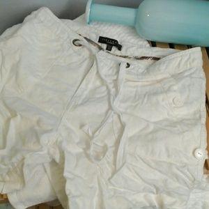 Sanctuary Pants - Sanctuary rolled white linen shorts size euro 30