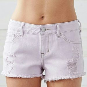 Light Purple Prism Ripped Low Rise Denim Shorts