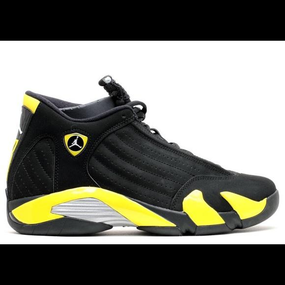 fce7b5743ddb Jordan Shoes - Air Jordan 14 Retro Thunder Black   Yellow 4.5Y